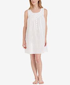 Eileen West Cotton Lace-Trim Short Nightgown