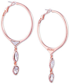 GUESS Rose Gold-Tone Crystal & Faux Python Leather Hoop Earrings