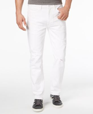 Men's White Party Athlete Relaxed Tapered-Fit Stretch Jeans, Created for Macy's