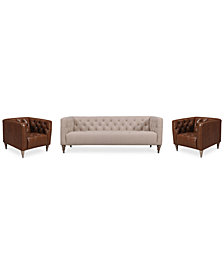 "Tosi 3-Pc. 84"" Fabric Sofa & 2 34"" Leather Chairs Set"