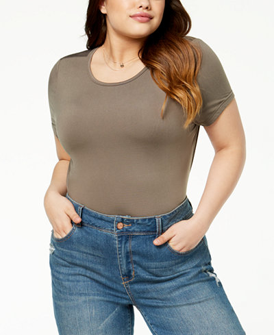 Say What? Trendy Plus Size Scoop-Neck Bodysuit