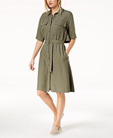 Lacoste Popover-Back Piqué Belted Shirtdress