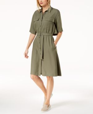 POPOVER-BACK PIQUE BELTED SHIRTDRESS