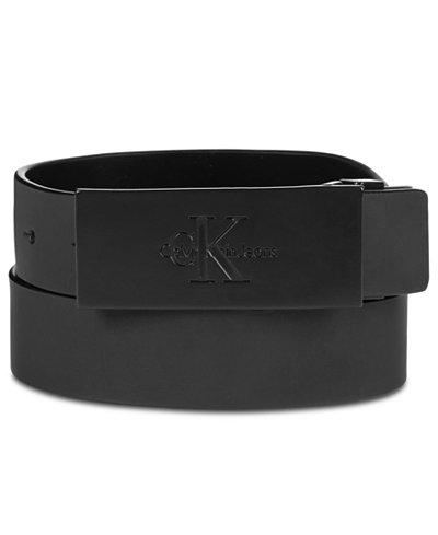 Calvin Klein Men's Plaque Logo Buckle Leather Belt