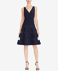 Lauren Ralph Lauren Petite Tulle-Panel Fit & Flare Dress