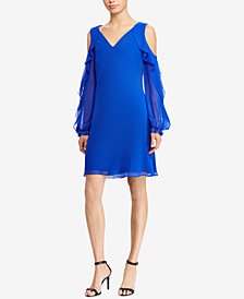 Lauren Ralph Lauren Cold-Shoulder Ruffled-Sleeve Dress