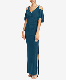 Lauren Ralph Lauren Cold-Shoulder Jersey Gown