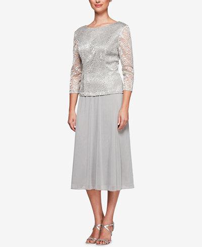 Alex Evenings Petite Embroidered-Overlay Dress