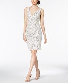 Sequined Lace Surplice Dress