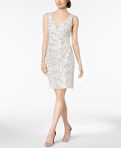 Vince Camuto Sequined Lace Surplice Dress