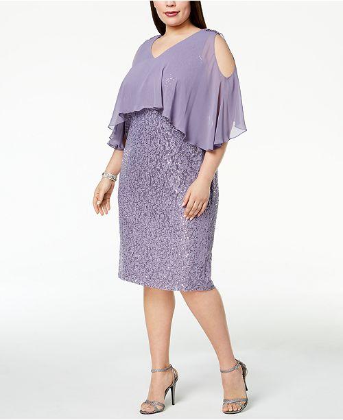 50c7857b746 ... SL Fashions Plus Size Sequined Cold-Shoulder Cape Dress ...