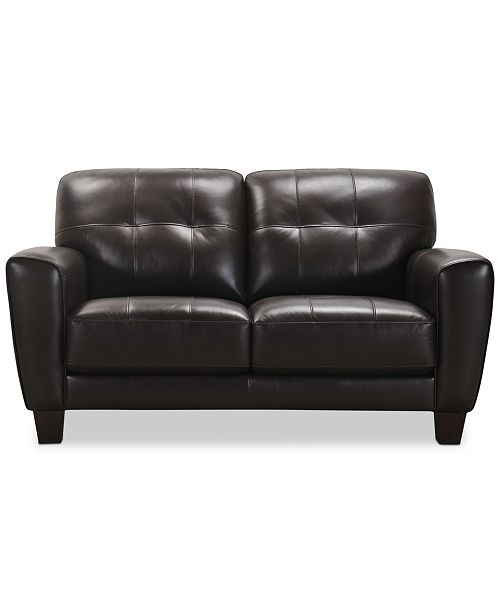 Furniture Kaleb 61 Quot Tufted Leather Loveseat Created For