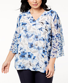 Calvin Klein Plus Size Flare-Sleeve Top