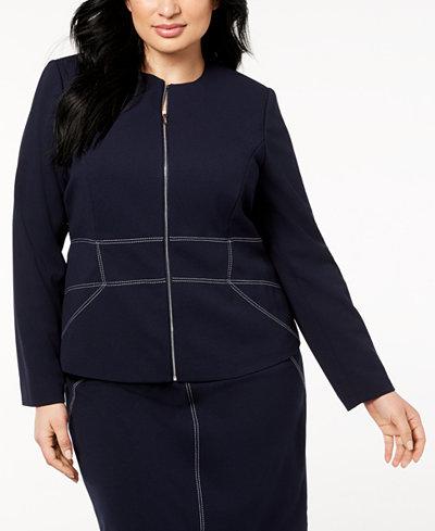 Calvin Klein Plus Size Contrast-Stitched Zip-Up Blazer