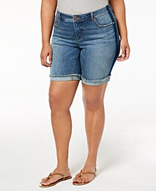 INC Plus Size Denim Shorts, Created for Macy's