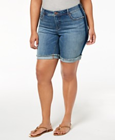 I.N.C. Plus Size Denim Shorts, Created for Macy's