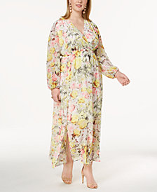 I.N.C. Plus Size Printed Maxi Dress, Created for Macy's
