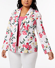 I.N.C. Plus Size Floral-Print Blazer, Created for Macy's