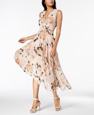 1930s Style Dresses | 30s Art Deco Dress Calvin Klein Printed Chiffon Faux-Wrap Dress Regular  Petite Sizes $139.00 AT vintagedancer.com