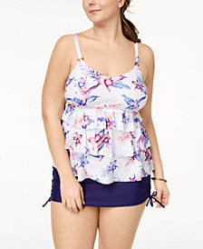 Island Escape Plus Size Sunset Blooms Tiered Tankini Top & Side-Tie Swim Skirt, Created for Macy's