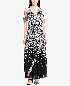 Calvin Klein Printed Ruffled Cold-Shoulder Maxi Dress