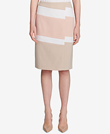 Calvin Klein Asymmetric Colorblocked Pencil Skirt