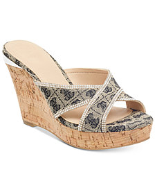 GUESS Eleonora Platform Wedge Slide Sandals