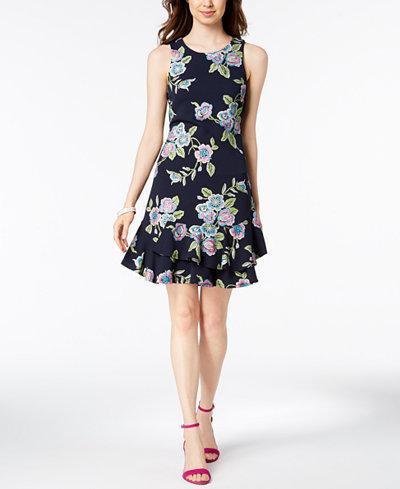 Robbie Bee Petite Floral-Print Ruffle Dress