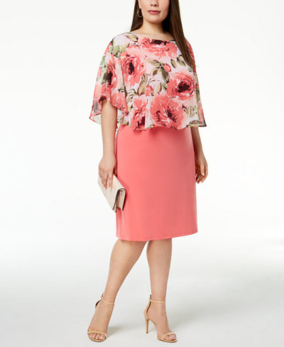 Connected Plus Size Printed-Chiffon Popover Dress