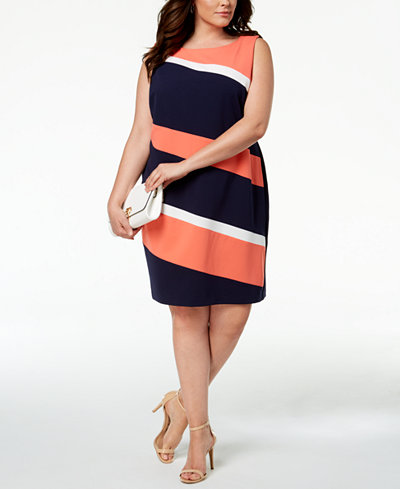 Connected Plus Size Diagonal Colorblocked Dress