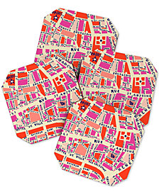 Deny Designs Holli Zollinger Paris Map Coaster Set