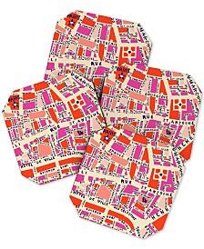Deny Designs Holli Zollinger Paris Map Coaster Set