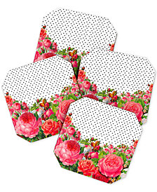 Deny Designs Allyson Johnson Bold Floral And Dots Coaster Set