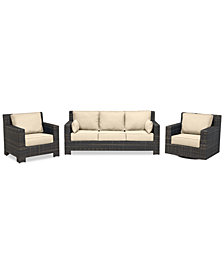 Viewport Outdoor Wicker 3-Pc. Seating Set (1 Sofa, 1 Club Chair & 1 Swivel Glider) with Custom Sunbrella® Colors, Created for Macy's
