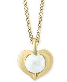 "EFFY Kidz® Children's Cultured Freshwater Pearl (5mm) Heart 14"" Pendant Necklace in 14k Gold"