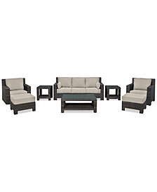 Viewport Outdoor Wicker 8-Pc. Seating Set (1 Sofa, 1 Club Chair, 1 Swivel Glider, 2 Ottomans, 1 Coffee Table & 2 End Tables) with Custom Sunbrella® Colors, Created for Macy's