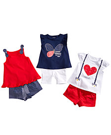 First Impressions Graphic-Print T-Shirts & Shorts Separates, Baby Girls, Created for Macy's