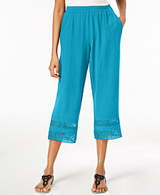 JM Collection Petite Crochet-Hem Capri Pants, Created for Macy's