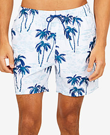 "Nautica Men's Palm Tree Printed  6"" Swim Trunks"