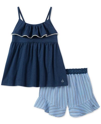 Calvin Klein 2-Pc. Tank Top & Striped Shorts Set, Little Girls