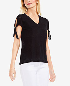 Vince Camuto Cotton Tie-Sleeve T-Shirt