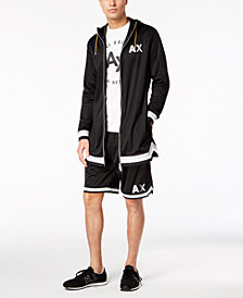 A|X Armani Exchange Men's Oversized Mesh Hoodie & Mesh Baskeball Shorts