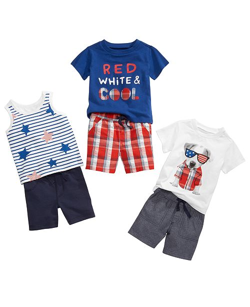 First Impressions Stars & Stripes T-Shirts, Tank Tops & Shorts, Baby Boys, Created for Macy's