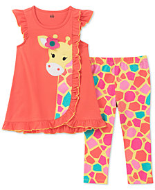 Kids Headquarters 2-Pc. Giraffe Tunic & Capri Leggings Set, Little Girls