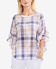 Vince Camuto Plaid Ruffle-Sleeve Top