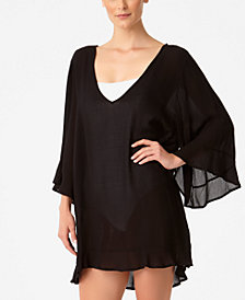 Anne Cole Sheer Ruffled Tunic Cover-Up