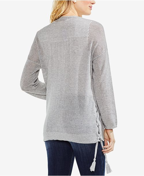 41a799dedf Vince Camuto Ribbed Lace-Up Cotton Cardigan - Sweaters - Women - Macy s
