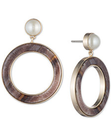 DKNY Gold-Tone Imitation Pearl & Horn Drop Hoop Earrings, Created for Macy's