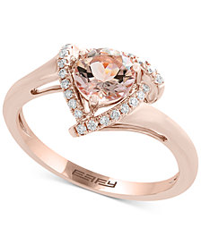 EFFY® Morganite (3/4 ct. t.w.) & Diamond (1/10 ct. t.w.) Ring in 14k Rose Gold