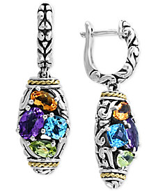 EFFY® Multi-Gemstone Drop Earrings (2-9/10 ct. t.w.) in Sterling Silver & 18k Gold